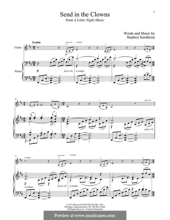 Send in the Clowns (from A Little Night Music): For violin and piano by Stephen Sondheim