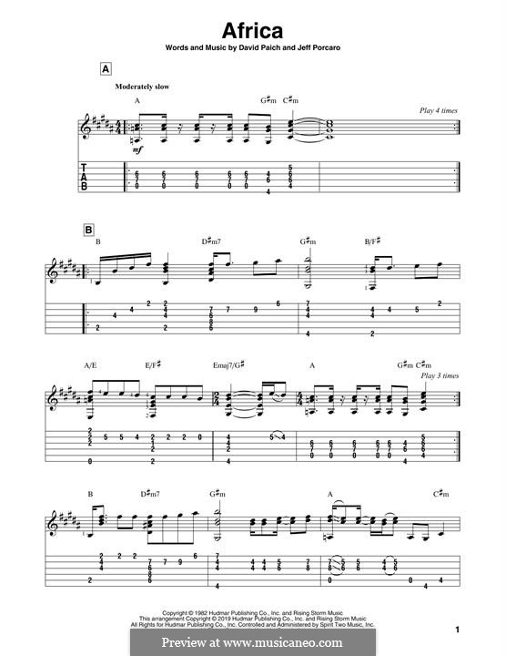 Africa (Toto): For guitar by David Paich, Jeff Porcaro