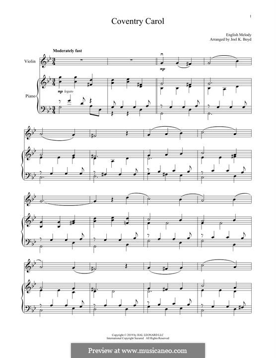 Coventry Carol: For violin and piano by folklore