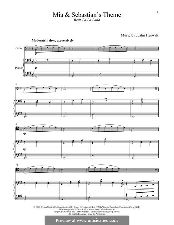 Mia and Sebastian's Theme (from La La Land): For cello and piano by Justin Hurwitz