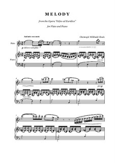 Melody: For flute and piano by Christoph Willibald Gluck