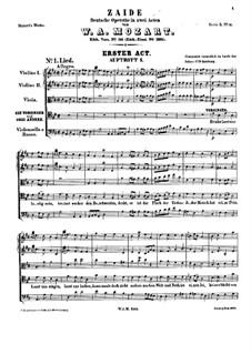 Zaide, K.344: Full score by Wolfgang Amadeus Mozart