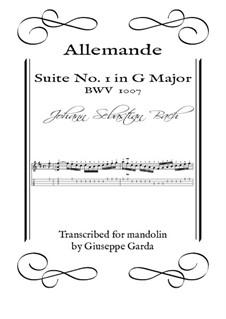 Suite for Cello No.1 in G Major, BWV 1007: Allemande, for mandolin by Johann Sebastian Bach