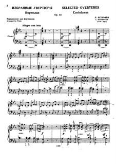 Overtures Egmont, Coriolan, Fidelio, Leonore No.3, Op.84, 62, 72: Arrangement for piano by Ludwig van Beethoven