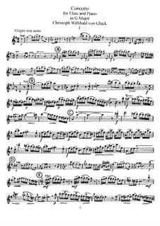 Concerto for Flute and Piano in G Major: Solo part by Christoph Willibald Gluck