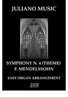 Symphony No.4 in A Major 'Italian', Op.90: Theme, for easy organ - C version by Felix Mendelssohn-Bartholdy