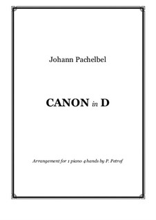 Canon in D Major: For piano four hands by Johann Pachelbel