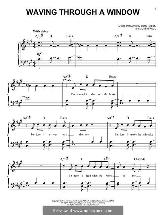 Waving Through a Window (from Dear Evan Hansen): For piano by Justin Paul, Benj Pasek