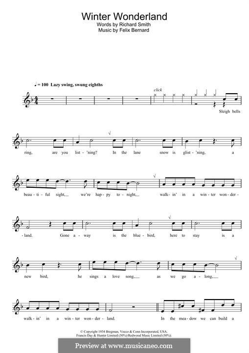 Winter Wonderland: For clarinet by Felix Bernard