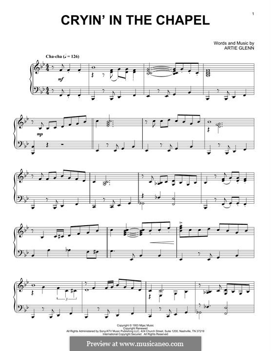 Crying in the Chapel (Elvis Presley): For piano (jazz version) by Artie Glenn