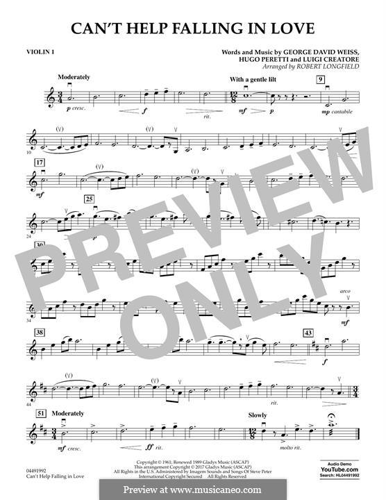 Can't Help Falling in Love: Violin 1 part (arr. Robert Longfield) by George David Weiss, Hugo Peretti, Luigi Creatore