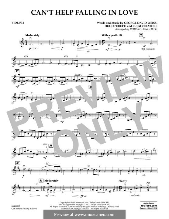 Can't Help Falling in Love: Violin 2 part (arr. Robert Longfield) by George David Weiss, Hugo Peretti, Luigi Creatore