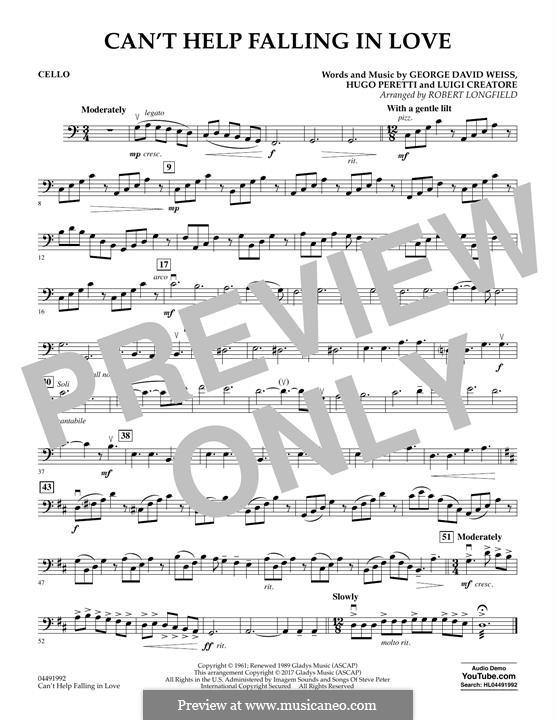 Can't Help Falling in Love: Cello part (arr. Robert Longfield) by George David Weiss, Hugo Peretti, Luigi Creatore