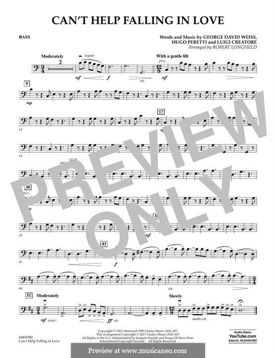 Can't Help Falling in Love: Bass part (arr. Robert Longfield) by George David Weiss, Hugo Peretti, Luigi Creatore