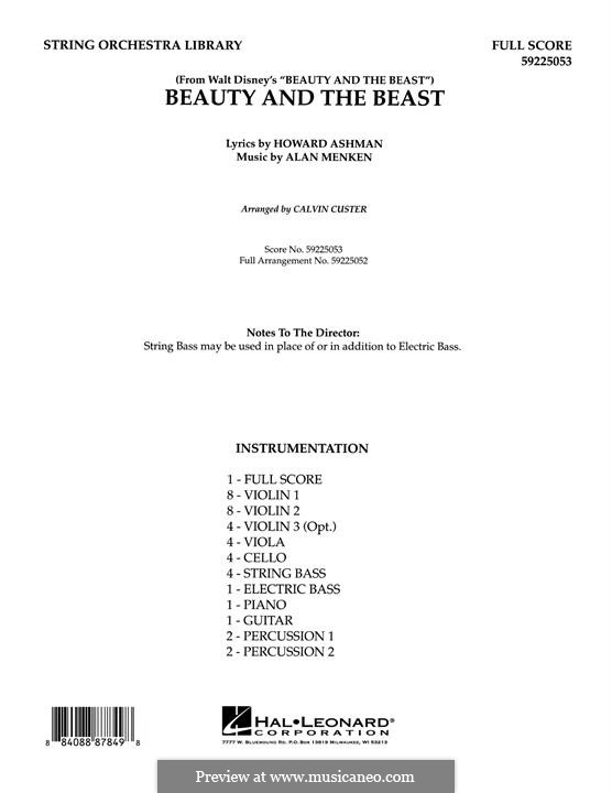 Beauty and the Beast (Celine Dion and Peabo Bryson): Full score (arr. Calvin Custer) by Alan Menken