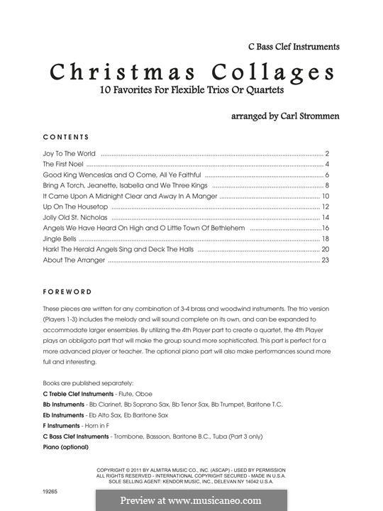 Christmas Collages: C Bass Clef Instruments part by Georg Friedrich Händel, Felix Mendelssohn-Bartholdy, folklore, James Lord Pierpont