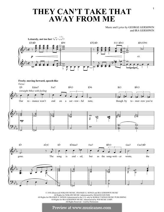 They Can't Take That Away from Me: For voice and piano by George Gershwin
