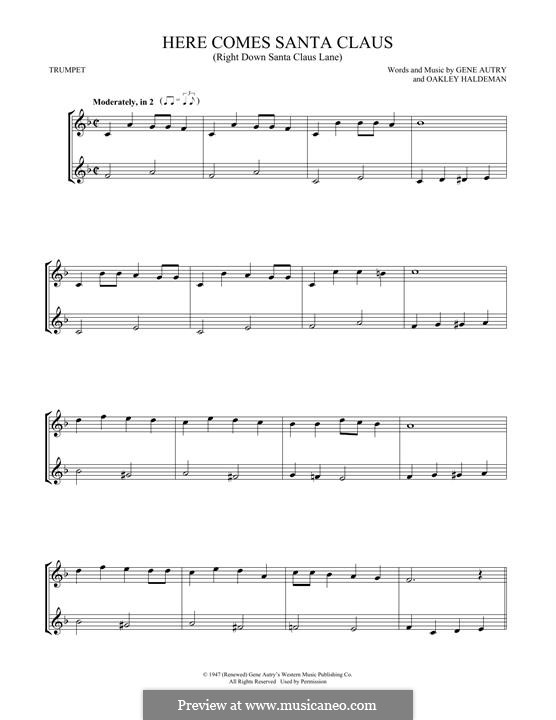 Here Comes Santa Claus (Right Down Santa Claus Lane): For two trumpets by Gene Autry, Oakley Haldeman