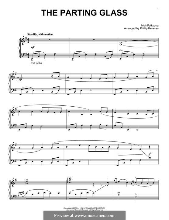 The Parting Glass: For piano by folklore