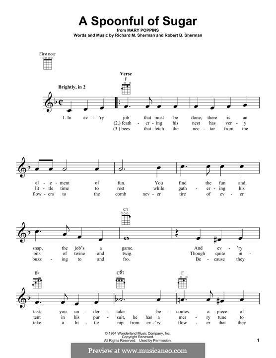 A Spoonful of Sugar: For ukulele by Richard M. Sherman, Robert B. Sherman