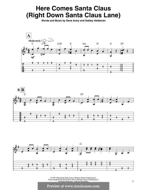 Here Comes Santa Claus (Right Down Santa Claus Lane): For guitar by Gene Autry, Oakley Haldeman