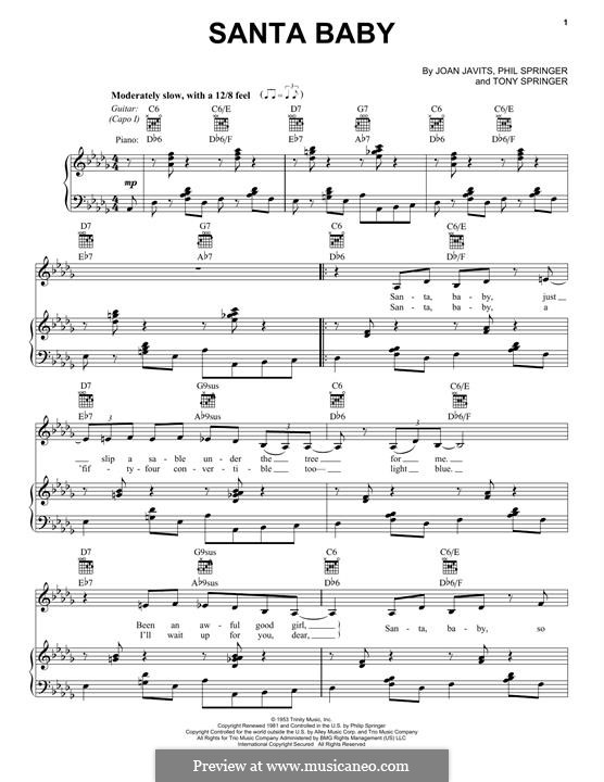 Santa Baby (Eartha Kitt): For voice and piano (or guitar) by Joan Javits, Philip Springer, Tony Springer