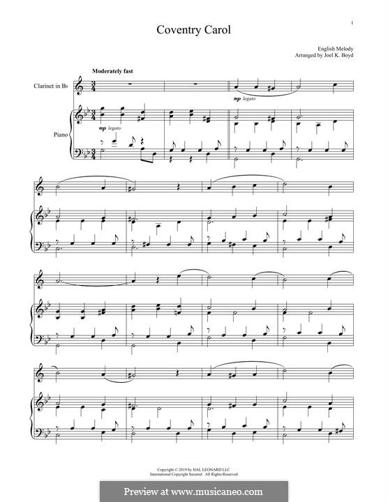 Coventry Carol: For clarinet and piano by folklore