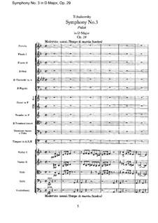 Symphony No.3 in D Major 'Polish', TH 26 Op.29: Full score by Pyotr Tchaikovsky