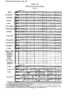 1812. Festival Overture, TH 49 Op.49: Full score by Pyotr Tchaikovsky
