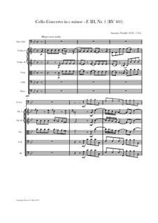 Concerto for Cello and Strings in C Minor, RV 401: Score, parts by Antonio Vivaldi