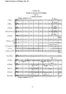 Concerto for Violin and Orchestra in D Major, TH 59 Op.35: Full score by Pyotr Tchaikovsky