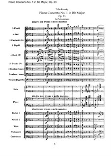 Concerto for Piano and Orchestra No.1 in B Flat Minor, TH 55 Op.23: Full score by Pyotr Tchaikovsky