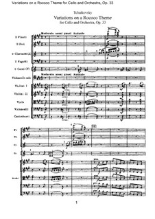 Variations on a Rococo Theme, TH 57 Op.33: Full score by Pyotr Tchaikovsky