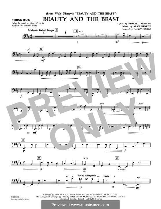 Beauty and the Beast (Celine Dion and Peabo Bryson): String Bass part (arr. Calvin Custer) by Alan Menken