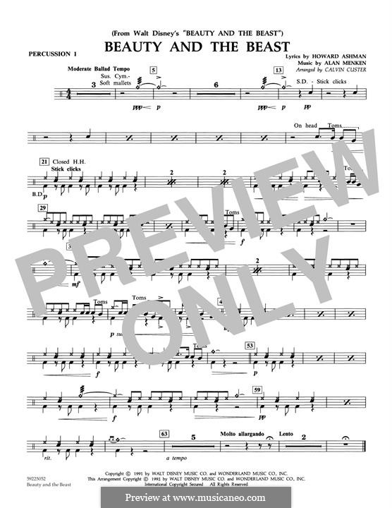 Beauty and the Beast (Celine Dion and Peabo Bryson): Percussion 1 part (arr. Calvin Custer) by Alan Menken