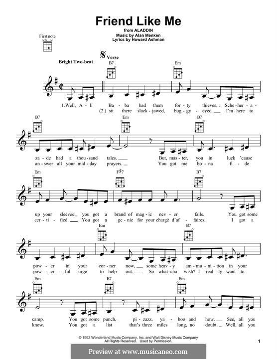 Friend Like Me (from Aladdin): For ukulele by Alan Menken
