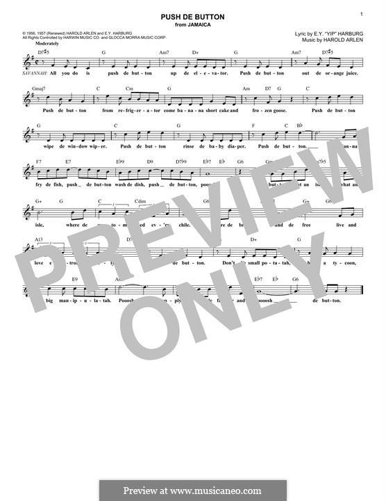 Push de Button: Melody line by Harold Arlen