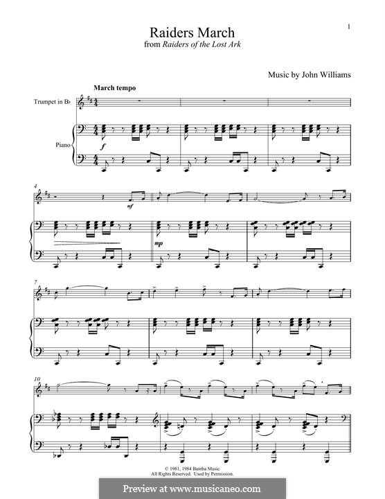 Raiders March (from Raiders of the Lost Ark): For trumpet and piano by John Williams