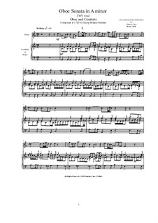 Sonata for Oboe and Cembalo (or Piano) in A minor, TWV 41:a3: Sonata for Oboe and Cembalo (or Piano) in A minor by Georg Philipp Telemann