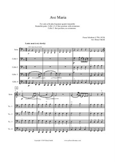 Ave Maria, D.839 Op.52 No.6: For solo advanced cello plus four beginner cellists or cello ensemble by Franz Schubert