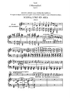I Masnadieri (The Bandits): Act II, for soloists, choir and piano by Giuseppe Verdi