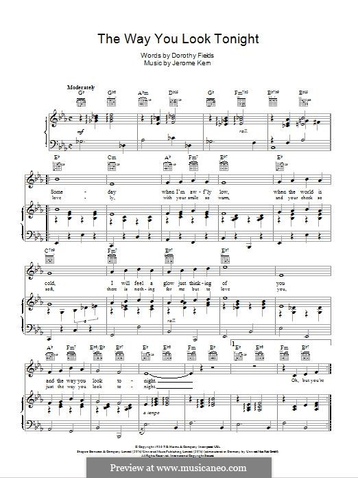 The Way You Look Tonight: For voice and piano (or guitar) by Jerome Kern