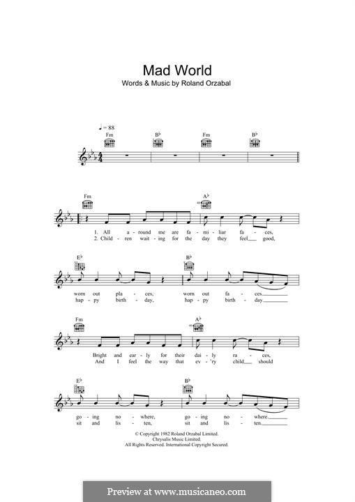 Mad World (Gary Jules & Michael Andrews): Melody line by Roland Orzabal
