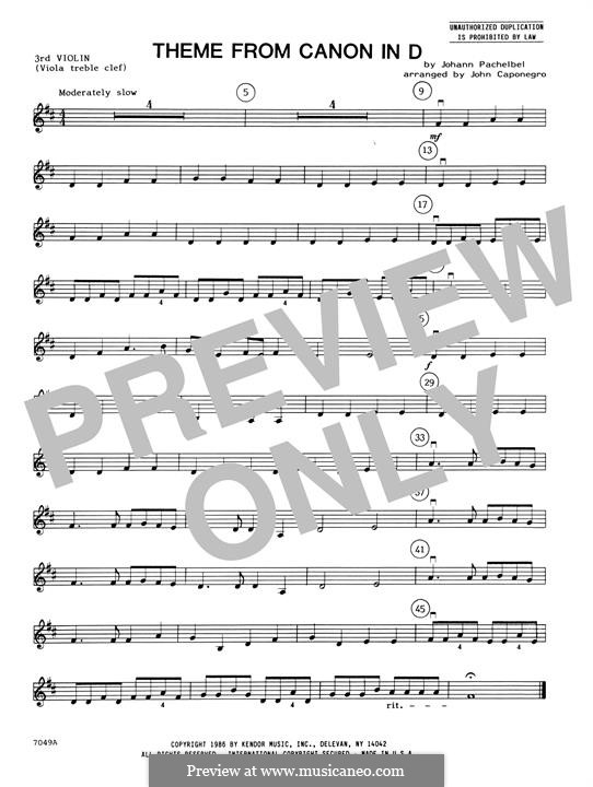Canon in D Major (Printable): Theme, for strings – Violin 3 (Viola T.C.) part by Johann Pachelbel