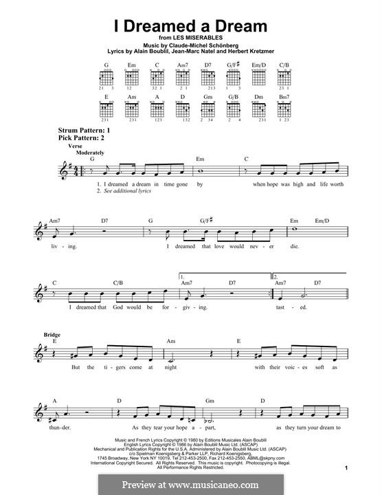I Dreamed a Dream: For guitar by Claude-Michel Schönberg