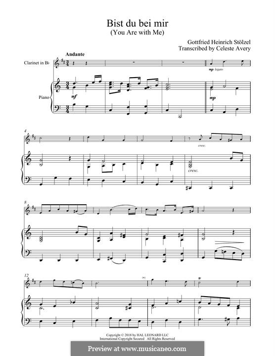 No.25 Bist du bei mir (You Are with Me), Printable scores: For clarinet and piano by Johann Sebastian Bach