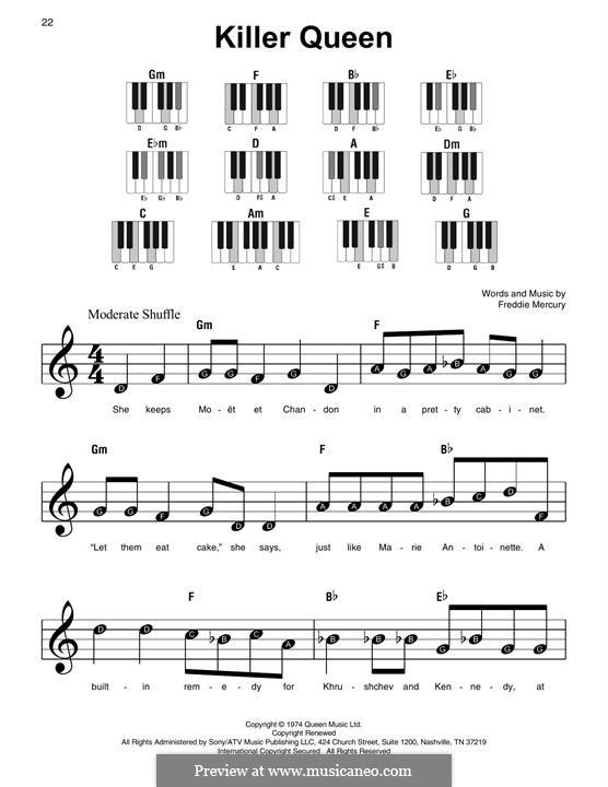 Killer Queen (Queen): For piano by Freddie Mercury