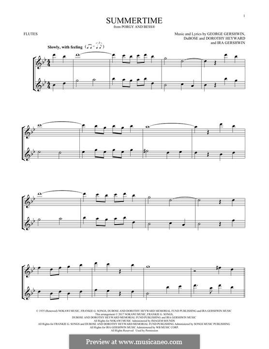 Summertime: For two flutes by George Gershwin
