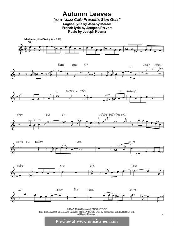 Autumn Leaves: For tenor saxophone by Joseph Kosma