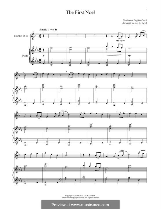The First Nowell (The First Noël), Printable scores: For clarinet and piano by folklore